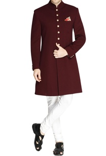 burgundy-sherwani-with-metallic-buttons