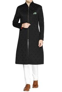 black-jacquard-pattern-sherwani