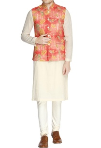 white-orange-floral-print-kurta-set