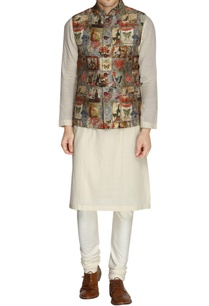 multicolored-printed-nehru-jacket-churidar-pants