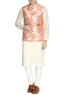 peach-floral-print-nehru-jacket-set