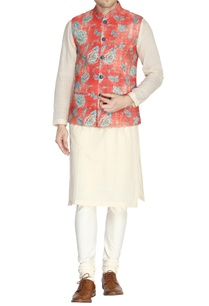 orange-floral-print-nehru-jacket-set