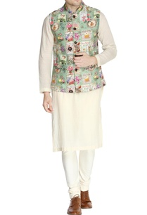 green-french-print-nehru-jacket-set
