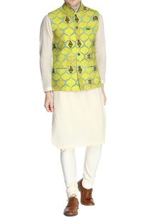 yellow-printed-nehru-jacket