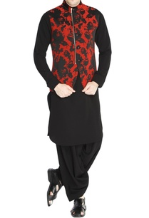 black-red-jacquard-jacket-set