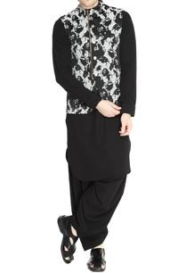 black-white-floral-jacquard-jacket-set