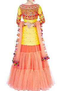 yellow-kurta-with-orange-lehenga-dupatta