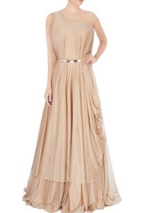 beige-shimmer-one-shoulder-gown