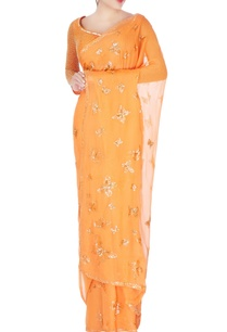 tangerine-orange-sequin-sari-blouse