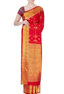 red-temple-motif-zari-sari