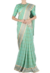 sea-green-check-polka-dot-sari-blouse