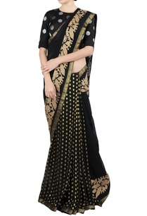 black-applique-work-sari-blouse