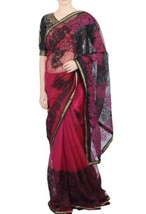 black-pink-applique-sari-blouse