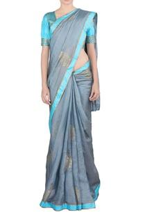 grey-blue-zari-embroidered-sari-blouse
