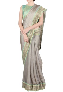 beige-green-jaal-work-sari-blouse
