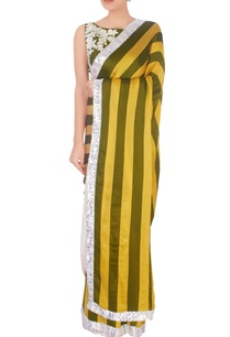 olive-green-yellow-stripe-pattern-sari