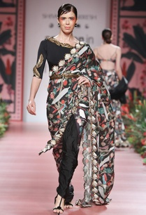 multicolored-printed-sari-with-belt
