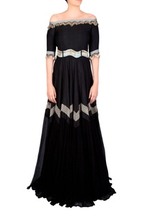black-flowy-belted-anarkali-gown