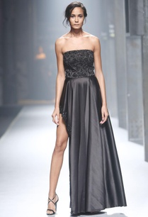 black-strapless-asymmetric-gown
