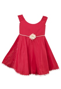 red-pearl-cotton-silk-dress