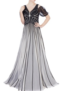 black-white-laser-cutout-gown