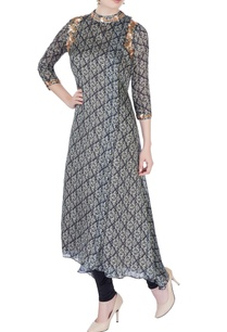 black-floral-printed-long-kurta