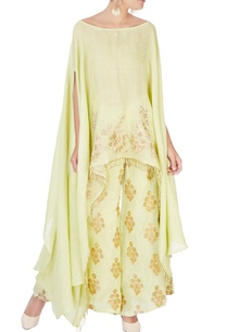 green-palazzos-with-gold-embellishments