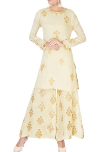 beige-short-kurta-in-embellishments