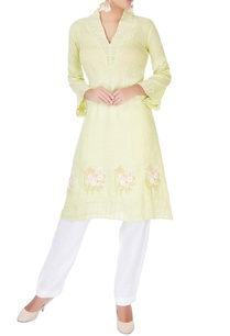 light-green-v-neck-kurta
