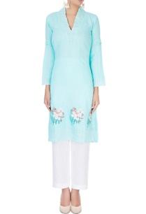 sky-blue-thread-embroidered-kurta