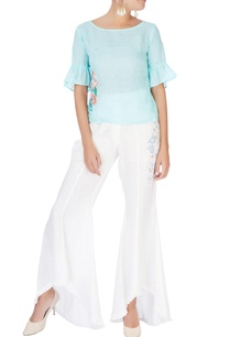 white-high-waist-bell-bottom-pants