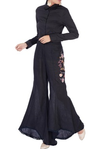 black-embroidered-bell-bottom-pants
