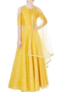yellow-raw-silk-anarkali-set