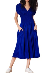 blue-smocked-waist-midi-dress