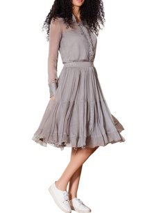 grey-pleated-midi-skirt