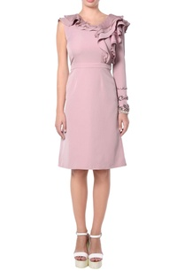 pink-ruffle-crepe-dress