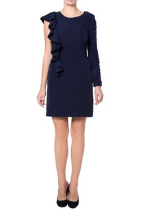 navy-blue-dress-with-frills
