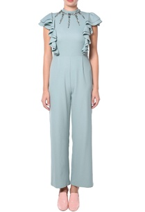 teal-green-ruffle-jumpsuit