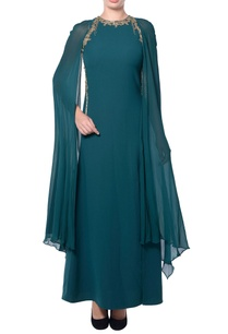 green-sheer-cape-gown