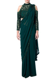 green-cold-shoulder-fringe-sari
