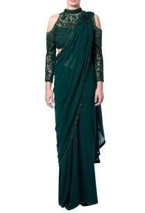 green-cold-shoulder-fringe-sari