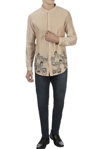 beige-patchwork-chanderi-shirt