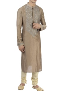 brown-grey-thread-embroidered-kurta