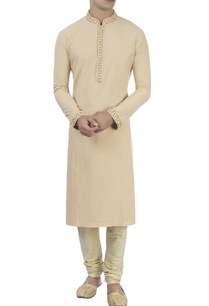 beige-kurta-with-churidar-pants