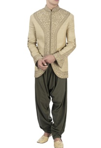 beige-embroidered-bandhgala-dhoti-pants