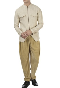 beige-zipper-jacket-dhoti-pants