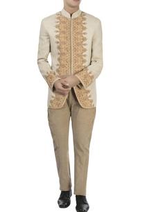 beige-chinar-bandhgala-corduroy-pants