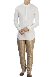 white-kurta-metallic-check-pants