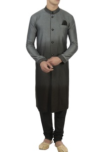 black-grey-jacquard-kurta-set