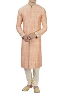 peach-raw-silk-kurta-with-churidar